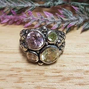 Multiple Colored Stones Engraved Ring